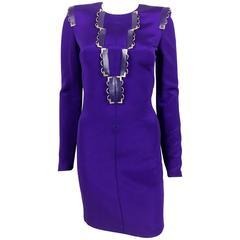 2010s Versace Royal Purple Body-Hugging Cocktail Dress