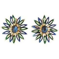 1960s Trifari Clip-on Flower Earrings