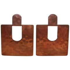 Modernist 1970's Large Handmade Copper Door Knocker Pierced Earrings