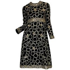 1960s Malcolm Starr Gold Braid, Sequin & Beaded Dress