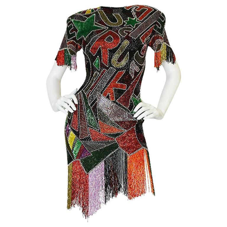 1980s Lillie Rubin Low Back Beaded Fringe Dress 1