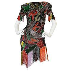 1980s Lillie Rubin Low Back Beaded Fringe Dress