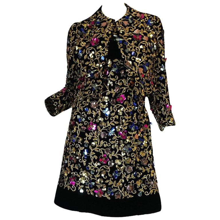 1960s Arnold Scaasi Couture Metallic Applique Dress Set For Sale