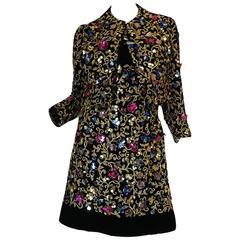 1960s Arnold Scaasi Couture Metallic Applique Dress Set
