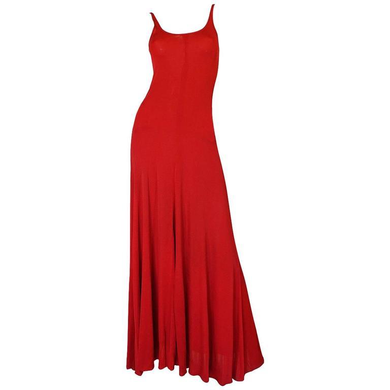 c1971 Halston Red Silk Knit Jersey Bias Cut Tank Dress 1