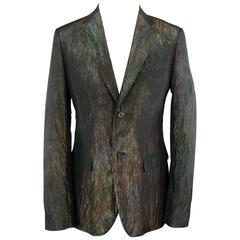 Men's JIL SANDER 40 Regular Iridescent Green Textured 2 Button Sport Coat