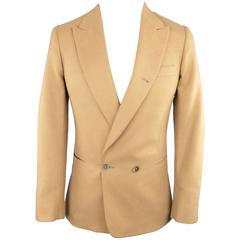 Men's PAUL SMITH 34 Tan Camel Hair Double Breasted Sport Coat