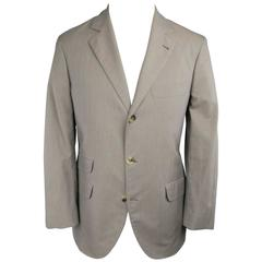 Men's BRUNELLO CUCINELLI 36 Houndstooth Taupe Cotton 3 Button Sport Coat