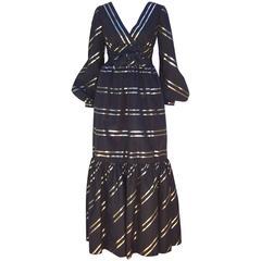 Fabulous 1960's Kiki Hart Black & Gold Taffeta Dress