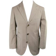Men's BRUNELLO CUCINELLI 36 Regular Khaki Cotton 3 Button Peak Lapel Sport Coat