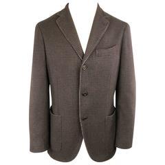 Men's BOGLIOLI 38 Brown Glenplaid Cashmere 3 Button Sport Coat
