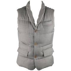 Men's BRUNELLO CUCINELLI 40 Grey Quilted Wool Shawl Collar Puffer Vest