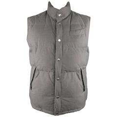 Men's BRUNELLO CUCINELLI 44 Grey / Khaki Quilted Cotton Reversible Puffer Vest
