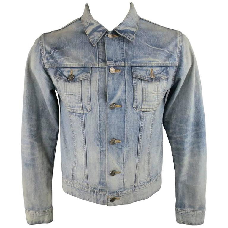 Men's DIOR HOMME 42 Blue Acid Washed Shrunken Denim Trucker Jacket