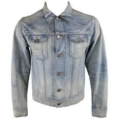 Men's DIOR HOMME 42 Blue Acid Washed Shrunken Denim Trucker Jacket