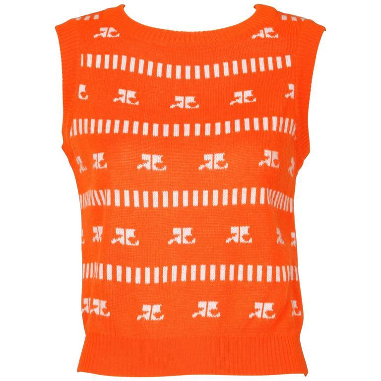 1970s Courreges Vintage Orange Knit Sweater Vest For Sale