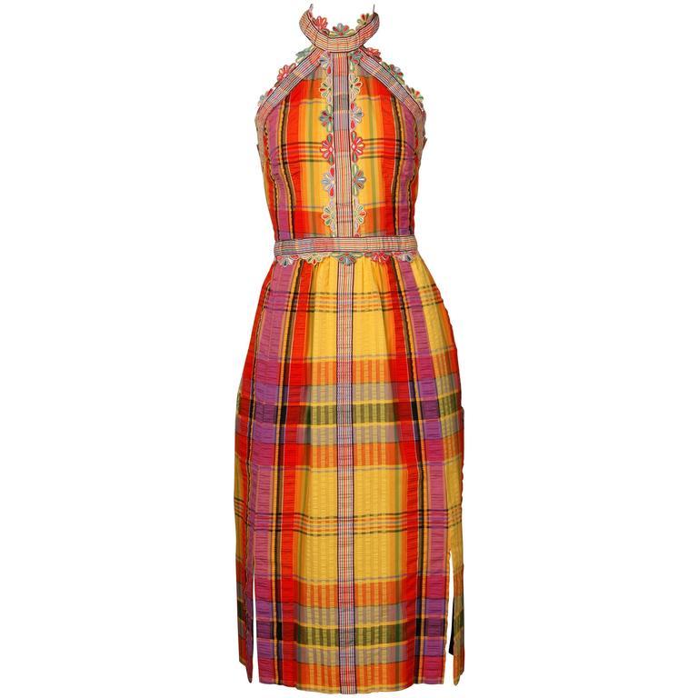 1970s Donald Brooks Vintage Halter Dress