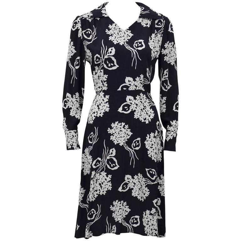 1940s Black and Cream Floral Rayon Dress