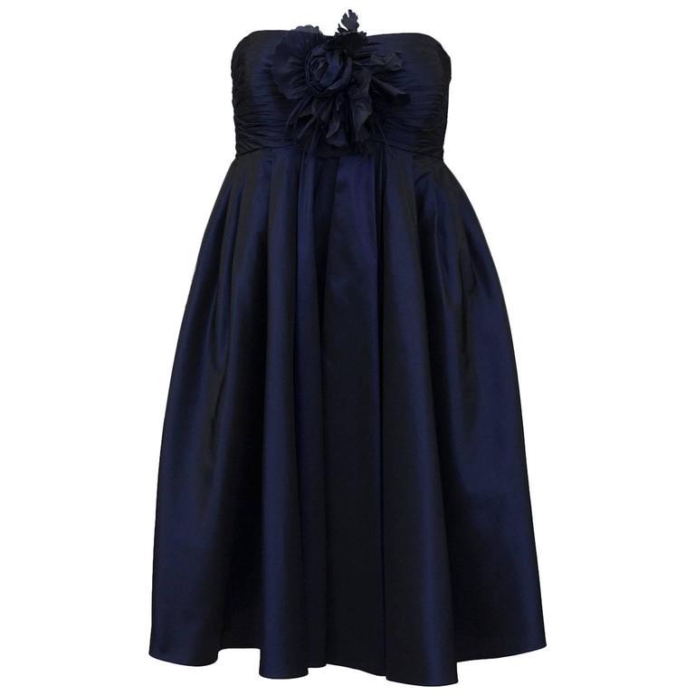 1990's Bill Blass Navy Blue Taffeta Cocktail Dress For Sale