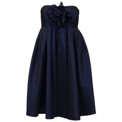 1990's Bill Blass Navy Blue Taffeta Cocktail Dress