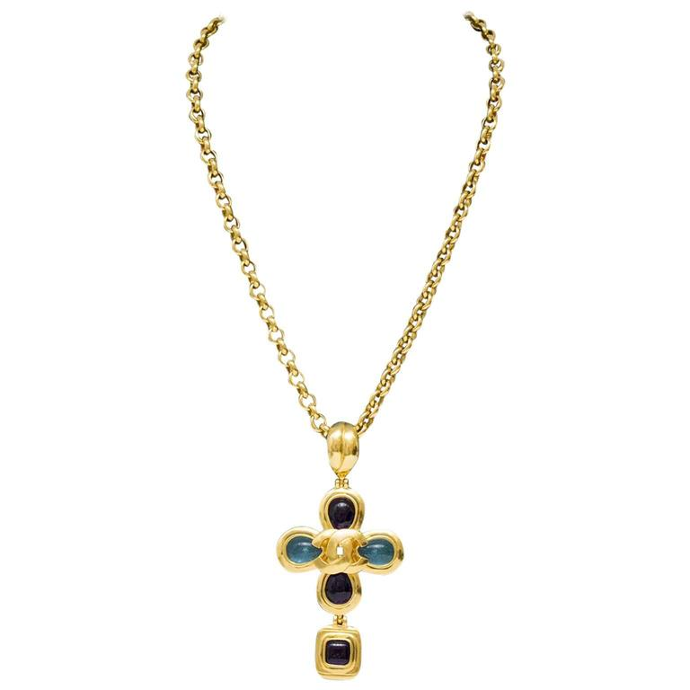1997 Chanel Gold Tone Necklace with Blue Poured Glass Details  For Sale