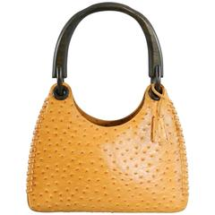 Gucci Ostrich Whipstitch Bag with Wood Handle