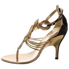 Gucci New Gold Chain Black Patent Leather Evening Heels Sandals in Box