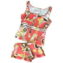 Emilio Pucci Orange Stretch Cotton Pucci Print Lounge Suit Boy Short and Tank