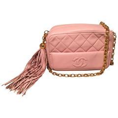Chanel Vintage Pink Quilted Leather Tassel Zip Classic Shoulder Bag