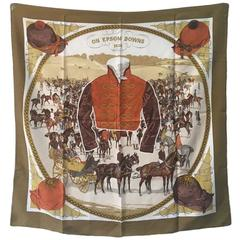 Hermes Vintage On Epsom Downs Silk Scarf,  circa 1970s