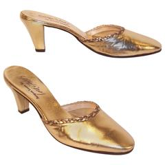 1970's Jacques Levine Gold Leather Evening Mules Sz 6.5