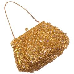 1960's Magid Gold Beaded & Rhinestone Embellished Evening Handbag