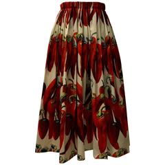 Dolce & Gabbana Red Chili Pepper Cotton Poplin Full skirt