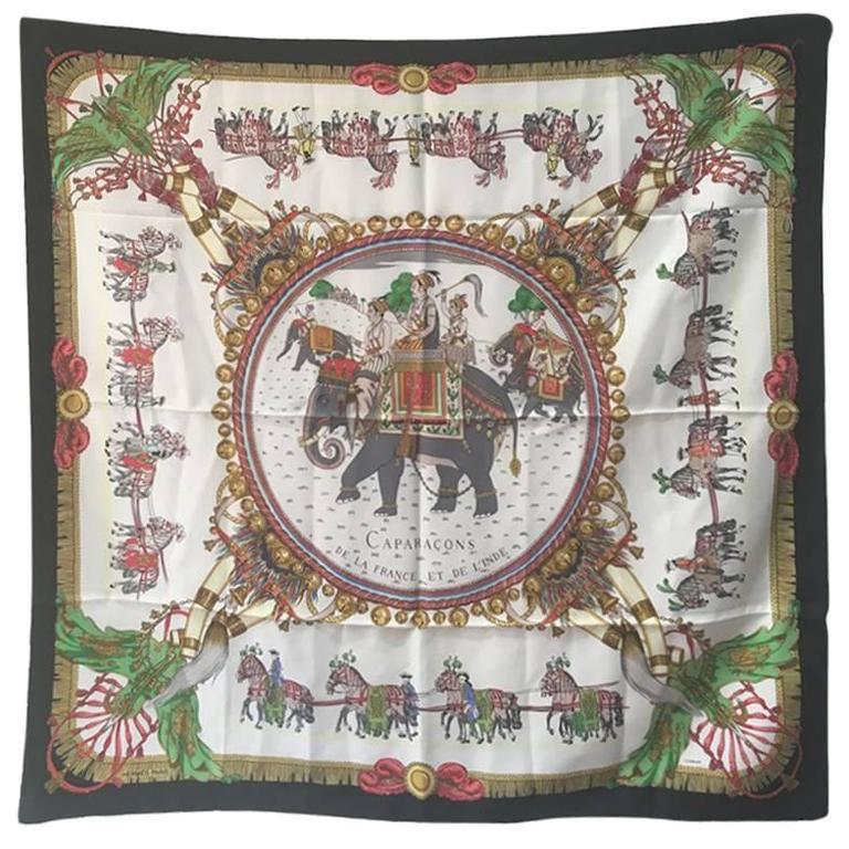 Hermes Caparacons de la France et de l'inde Silk Scarf in Black For Sale