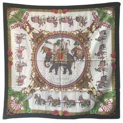 Hermes Caparacons de la France et de l'inde Silk Scarf in Black