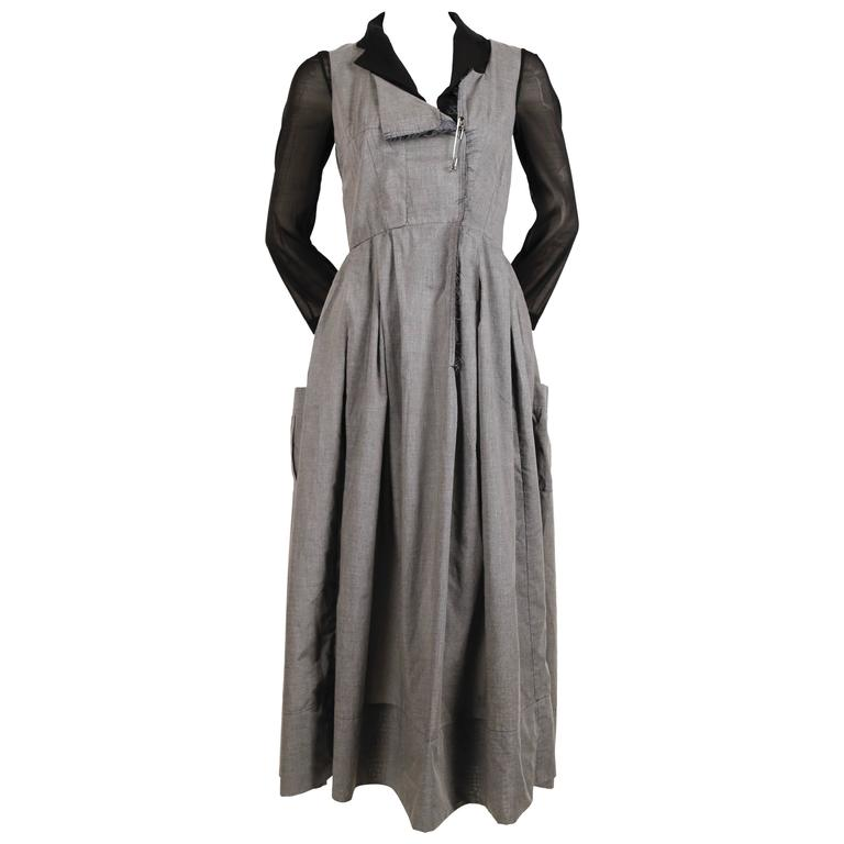 new 2000 COMME DES GARCONS double layer runway dress with safety pin closure 1