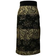 Dolce & Gabbana New with Tags Gold and Black Jacquard Straight Pencil Skirt