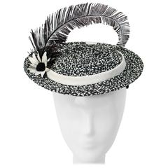 50s Straw Black and White Hat