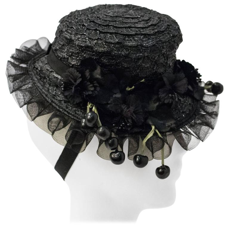 40s Black Straw Hat