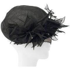 50s Black Tulle Hat