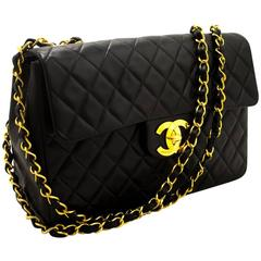 "CHANEL Jumbo 13"" Maxi 2.55 Flap Chain Shoulder Bag XL Black Lamb"
