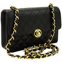 CHANEL Vintage Small Chain Shoulder Bag Crossbody Black Quilted