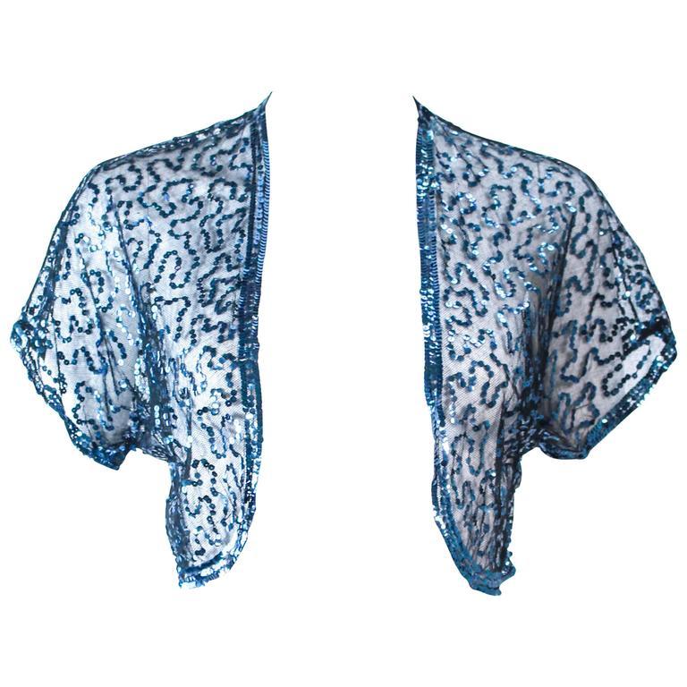 ANTIQUE 1930'S Blue Sequin and Tulle Bolero Size 2 4