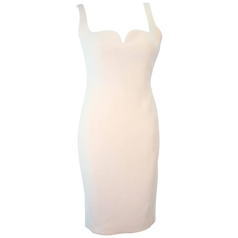 Atelier Versace Ivory Crepe Sculpted bust cocktail dress owned by Madonna Size 2 1