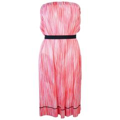 MISSONI White Orange and Pink Knit Strapless Dress Size 4 6