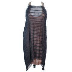 MISSONI Black Metallic Knit Stretch Set with Nude Jersey Dress Size 44