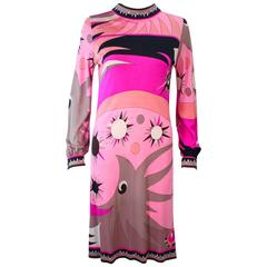 EMILIO PUCCI 1960's Pink Abstract Print Stretch Dress Size 4 6
