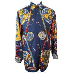 HERMES Vintage Men's Blue Silk Sword Print Shirt Size 39