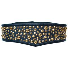 GALANOS Vinatge Navy Leather Gold Stud Applique Belt Size 4 6