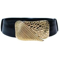 JUDITH LEIBER VIntage Black Lizard Belt with Large Gold Belt Buckle One Size